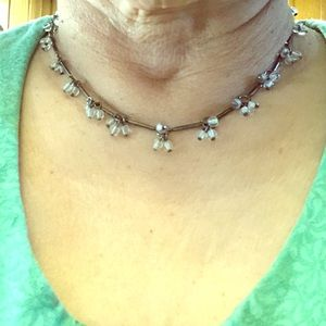 "8"" necklace with clear beads silver tone EUC"
